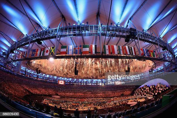 Fireworks are seen during the opening ceremony for the Rio 2016 Olympic Games on August 5, 2016 in Rio de Janeiro, Brazil.