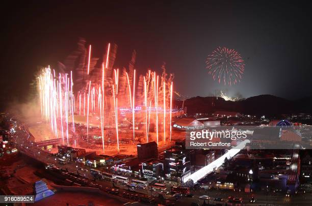 Fireworks are seen during the Opening Ceremony of the PyeongChang 2018 Winter Olympic Games at PyeongChang Olympic Stadium on February 9 2018 in...