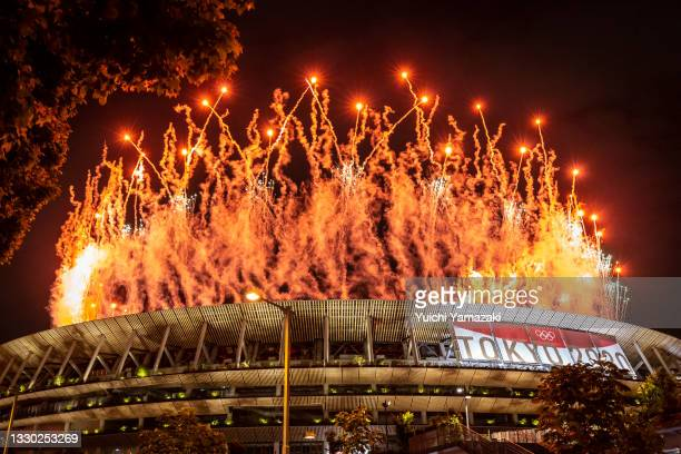 Fireworks are seen during the Opening Ceremony of the Tokyo 2020 Olympic Games at Olympic Stadium on July 23, 2021 in Tokyo, Japan.