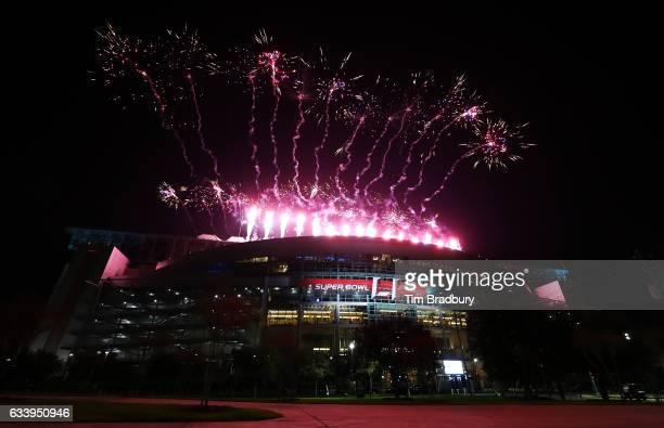 Fireworks are seen during the Pepsi Zero Sugar Super Bowl 51 Halftime Show at NRG Stadium on February 5 2017 in Houston Texas