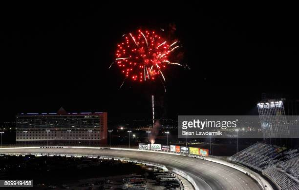 Fireworks are seen following the NASCAR Camping World Truck Series JAG Metals 350 Driving Hurricane Harvey Relief at Texas Motor Speedway on November...