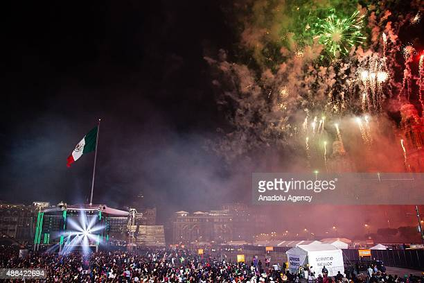 Fireworks are seen in the sky during the anniversary of the Grito de Dolores made by the priest Miguel Hidalgo in 1810 to begin the struggle for...