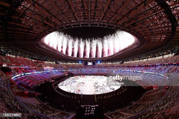 Fireworks are seen inside the stadium during the Opening Ceremony of the Tokyo 2020 Olympic Games at Olympic Stadium on July 23, 2021 in Tokyo, Japan.