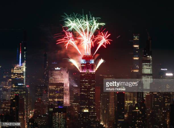 Fireworks are seen lighting up the sky on July 04 2020 in New York City This is part of six July 4th firework displays in locations around the city...