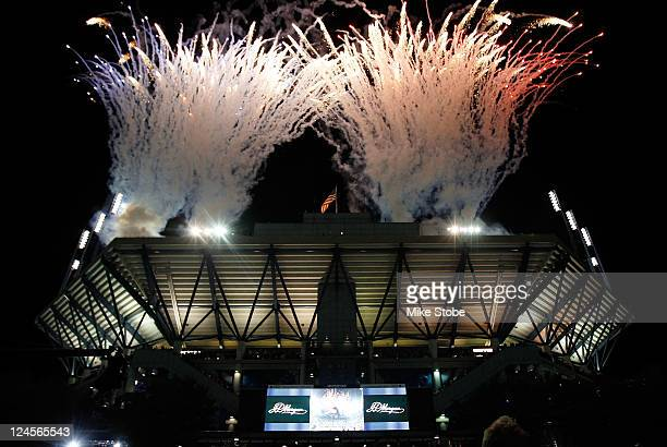 Fireworks are seen over Arthur Ashe stadium prior to the start of the women's semifinal match during Day Thirteen of the 2011 US Open at the USTA...