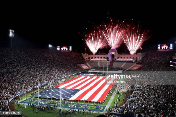 Fireworks are seen over the Memorial Coliseum prior the game between Chicago Bears and Los Angeles Rams at Los Angeles Memorial Coliseum on November...
