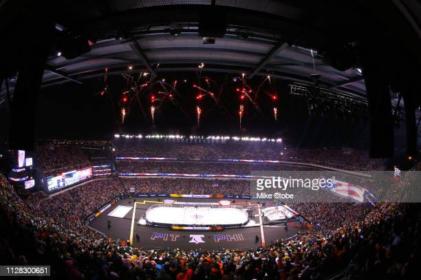 Fireworks are seen prior to the 2019 Coors Light NHL Stadium Series game between the Pittsburgh Penguins and the Philadelphia Flyers at Lincoln...