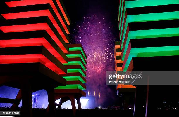 Fireworks are seen through the Katrina Chairs art installation by Alexandre Arrechea during day 3 of the 2016 Coachella Valley Music Arts Festival...