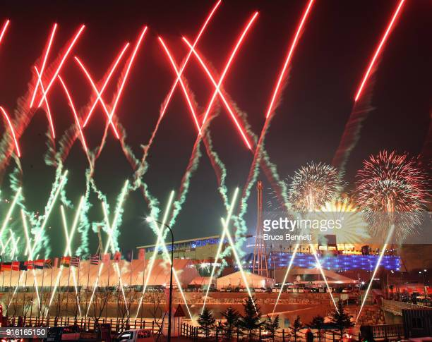 Fireworks are sent up during the Opening Ceremony of the PyeongChang 2018 Winter Olympic Games at PyeongChang Olympic Stadium on February 9 2018 in...