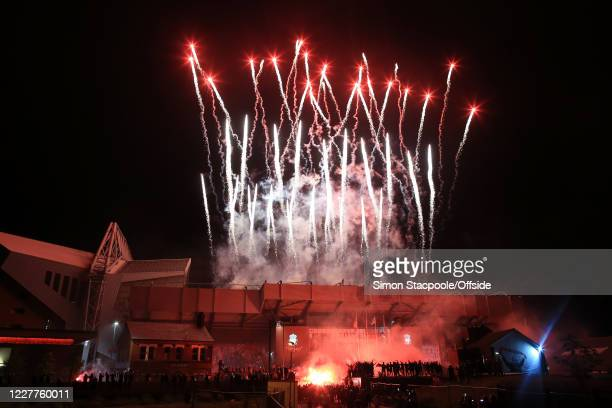 Fireworks are set off at Anfield as Liverpool lift the trophy and celebrate becoming Premier League Champions at Anfield on July 22 2020 in Liverpool...