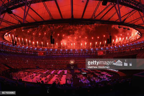 Fireworks are set off at the beginning of the closing ceremony during day 11 of the Rio 2016 Paralympic Games at Macana Stadium on September 18 2016...
