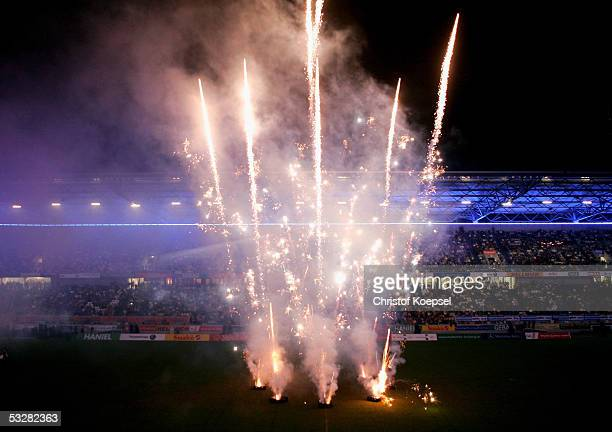 Fireworks are set off at the final during the closing ceremony of the World Games 2005 at the MSV Arena on July 24, 2005 in Duisburg, Germany.