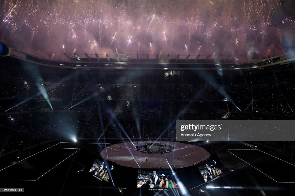 Fireworks are set off during celebrations at Santiago Bernabeu Stadium after winning the 2016/17 UEFA Champions League in Madrid, Spain on June 4, 2017. La Liga champions achieved their record of 12th European Cup title. More than 80,000 Real Madrid fans attended the celebrations.