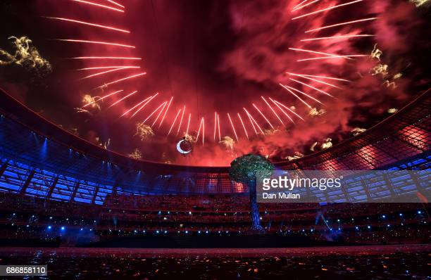 Fireworks are set off during the closing ceremony of Baku 2017 4th Islamic Solidarity Games at the Olympic Stadium on May 22 2017 in Baku Azerbaijan
