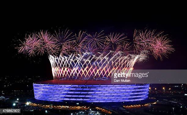Fireworks are set off from the stadium to mark the end of the Opening Ceremony for the Baku 2015 European Games at Olympic Stadium on June 12 2015 in...