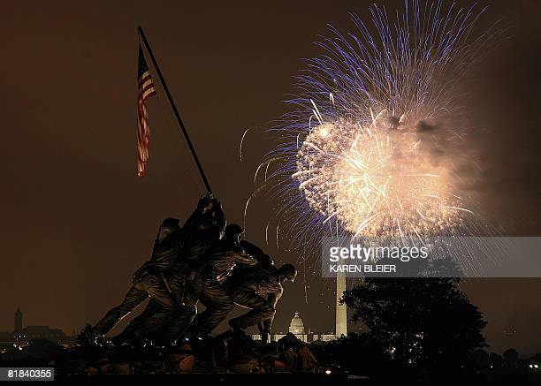 Fireworks are set off over the National Mall in Washington DC July 2008 seen from the Iwo Jima Memorial in Arlington VA AFP PHOTO/Karen BLEIER