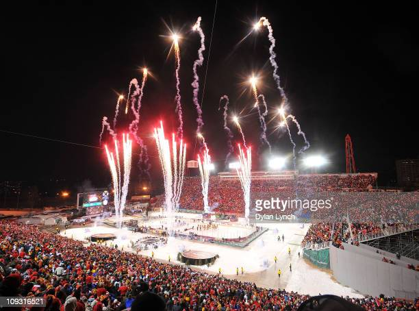 Fireworks are shot off at the end of the 2011 NHL Heritage Classic Game at McMahon Stadium on February 20 2011 in Calgary Alberta Canada The Flames...