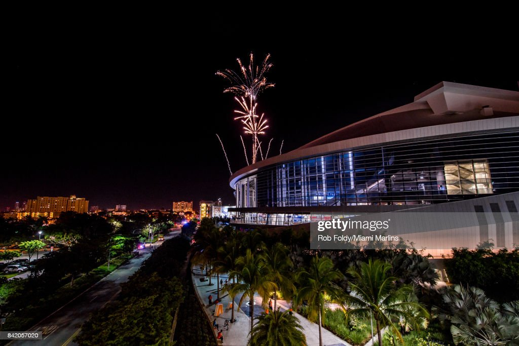 Fireworks are shot over Marlins Park after the game between the Miami Marlins and the Philadelphia Phillies on September 2, 2017 in Miami, Florida.