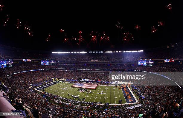 Fireworks are shown above MetLife Stadium at the start of Super Bowl XLVIII between the Denver Broncos and the Seattle Seahawks at MetLife Stadium on...