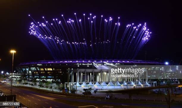 Fireworks are tested for the opening ceremony of the Rio 2016 Olympic Games at the Maracana stadium in Rio de Janeiro Brazil on August 3 2016 / AFP /...