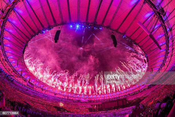 Fireworks around the rim of the stadium at the end of the closing ceremony of the Rio 2016 Paralympic Games at the Maracana Stadium in Rio de...