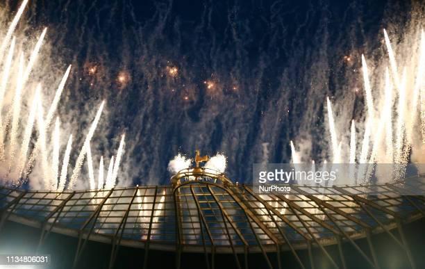 Fireworks around Tottenham Hotspur cockerel during English Premier League between Tottenham Hotspur and Crystal Palace at Tottenham Hotspur Stadium...