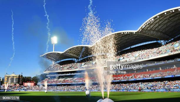Fireworks as players take the field during the Big Bash League match between the Adelaide Strikers and the Hobart Hurricanes at Adelaide Oval on...