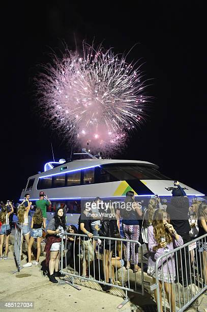 Fireworks as seen during Billboard Hot 100 Festival Day 2 at Nikon at Jones Beach Theater on August 23 2015 in Wantagh New York