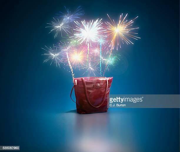 Fireworks ascending from tote bag