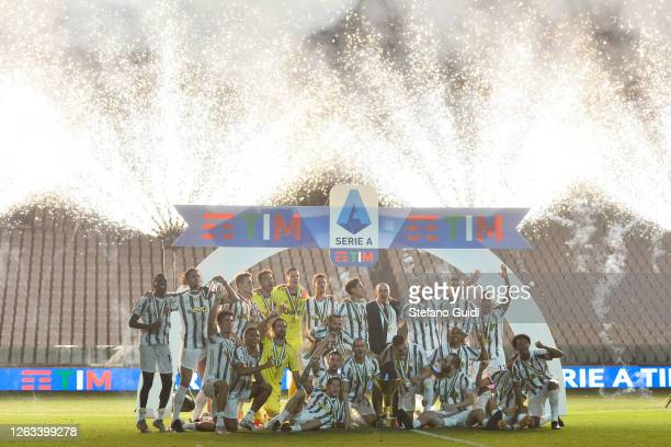 Fireworks at Allianz Stadium during the celebration of the 9th title in a row of Juventus after the Serie A match between Juventus and Roma during...