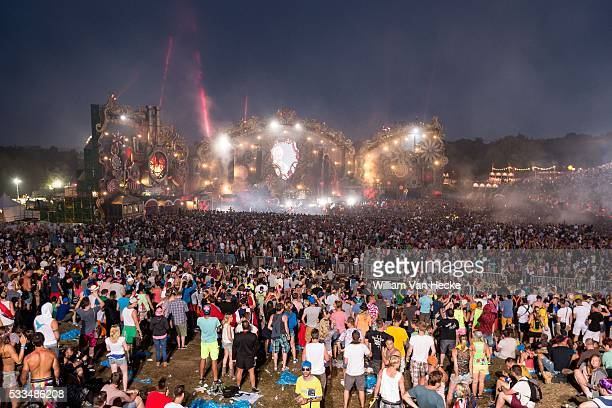 Fireworks at day 6 of the dance festival Tomorrowland at De Schorre Boom Belgium