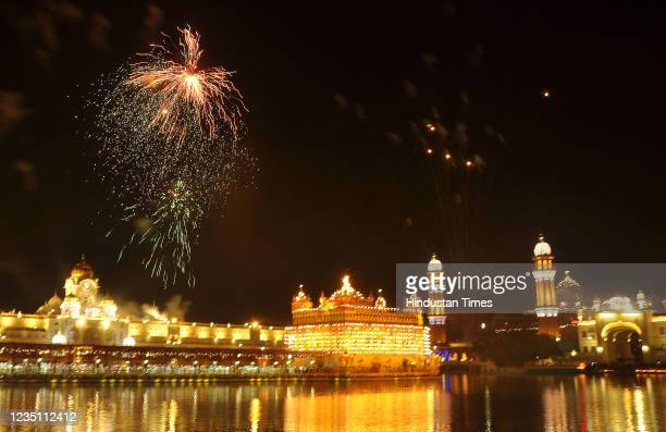 Fireworks at Golden Temple on the occasion of the 417th first installation anniversary of Sri Guru Granth Sahib on September 7,2021 in Amritsar,...