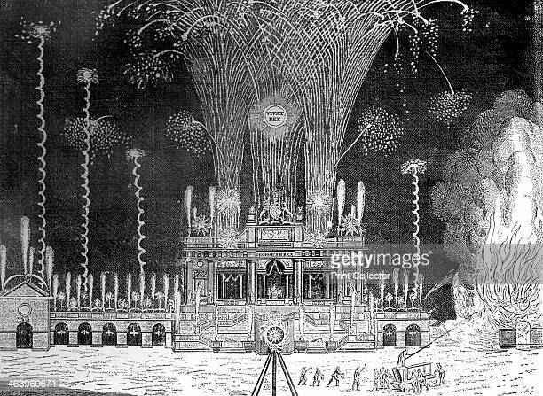 Fireworks at Green Park St James's April 27th 1749 'The Grand Whim for Prosperity to Laugh at Being the night view of the royal fireworks as...
