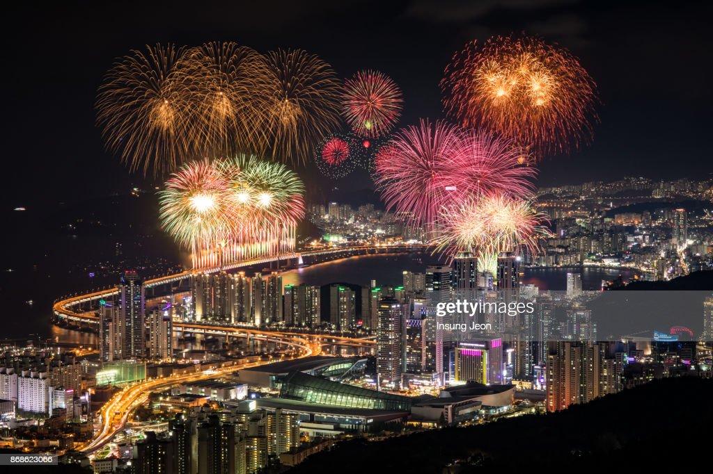 Fireworks at Gwangan Bridge in Busan : Stock Photo