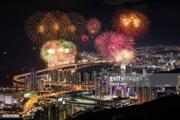 Fireworks at Gwangan Bridge in Busan