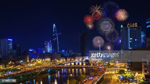 Fireworks at Ho Chi Minh City to celebrating National Day with Saigon Skyline