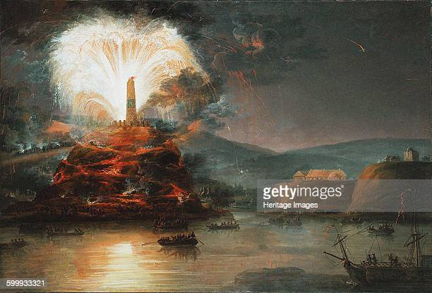 Fireworks at Kaniow in honor of Catherine II in 1787 1787 Private Collection Artist Plersch Jan Bogumil