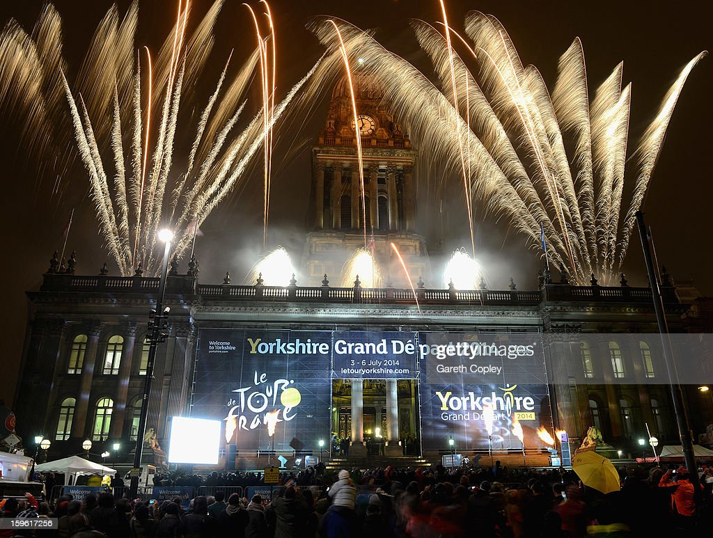 Fireworks at Leeds Town Hall after the announce the Grand Depart of the Tour de France on January 17, 2013 in Leeds, England.