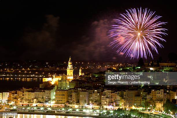 Fireworks at night, Menton, Alpes Maritimes, Provence, Cote d'Azur, French Riviera, France, Mediterranean, Europe