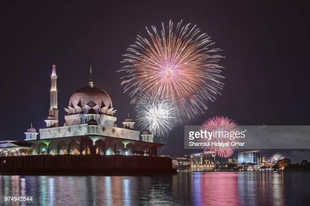 fireworks at putrajaya temple, putrajaya, malaysia - putrajaya stock pictures, royalty-free photos & images
