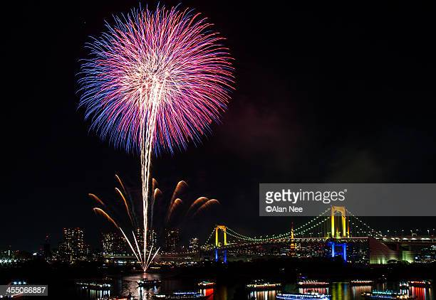 fireworks at rainbow bridge - nee nee stock pictures, royalty-free photos & images