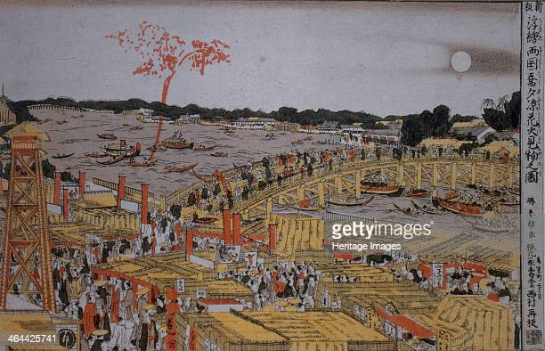 Fireworks at Ryogoku Bridge c 1785 Found in the collection of the State Hermitage St Petersburg