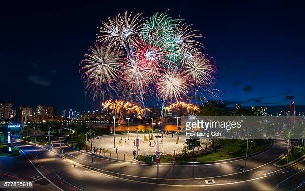 ndp 2016 fireworks at singapore sports hub - political party stock pictures, royalty-free photos & images