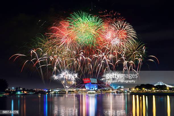 fireworks at singapore sports hub - singapore sports hub fotografías e imágenes de stock