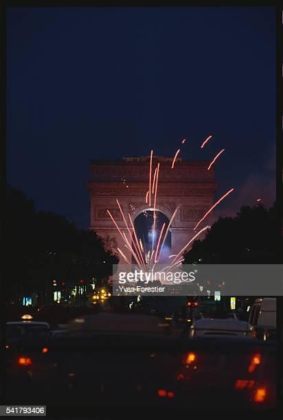 Fireworks at the Arc de Triomphe celebrating the inauguration of the Grande Arche de La Defense