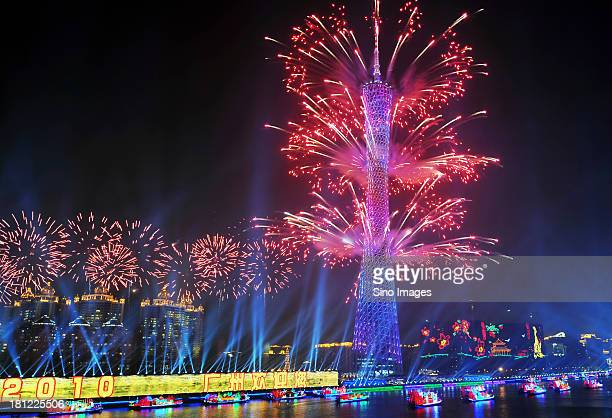 Fireworks at the opening ceremony of Guangzhou Asian Games