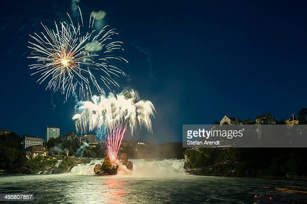 Fireworks at the Rhine Falls during the Swiss National Day celebrations, Schaffhausen, Canton of Schaffhausen, Switzerland