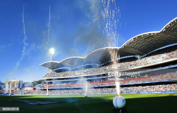 Fireworks at the start of the Big Bash League match between the Adelaide Strikers and the Hobart Hurricanes at Adelaide Oval on January 17 2018 in...