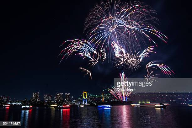 fireworks at tokyo bay - nee nee stock photos and pictures