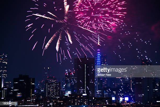 fireworks at tokyo - nee nee stock pictures, royalty-free photos & images
